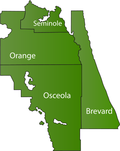Orange County, Osceola County, Seminole County, and Brevard County
