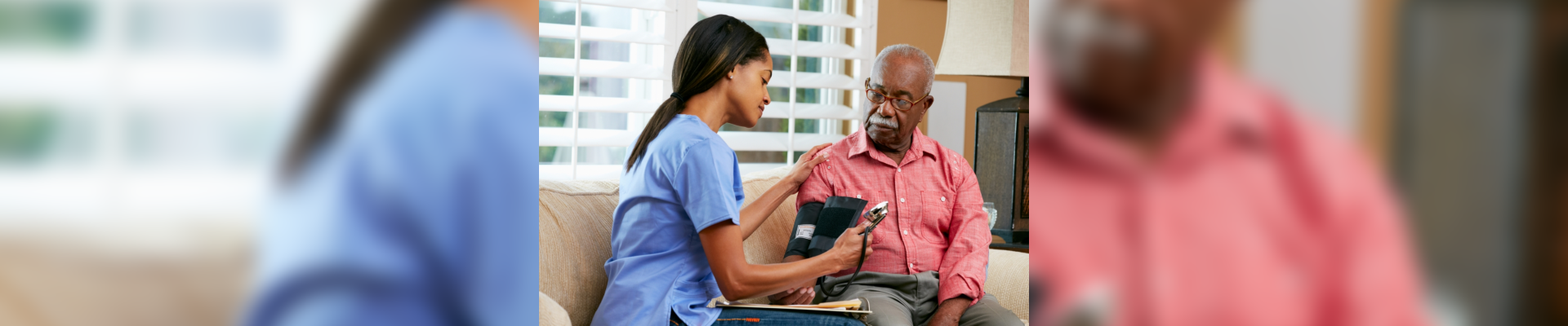 nurse checking blood pressure of the patient