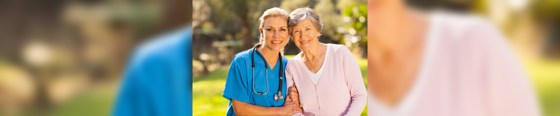 woman and nurse with stethoscope smiling
