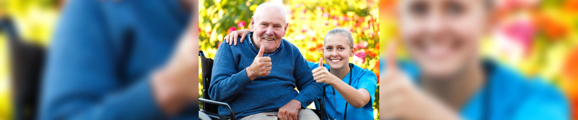 nurse and elderly patient smiling